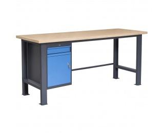 Pracovný stôl so zverákom PL03L/P2 - grafit / modrá