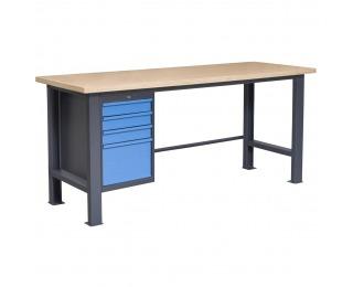 Pracovný stôl PL03L/P4 - grafit / modrá