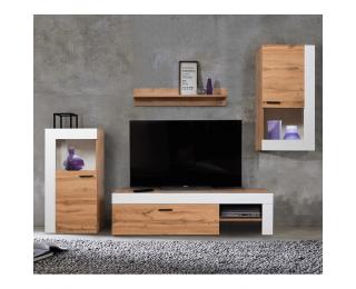 Obývacia stena Platinum - dub wotan / biela