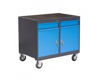 Dielenský vozík na kolieskach so zámkom PLW01G/P2P2 - grafit / modrá