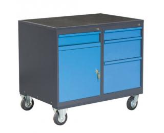 Dielenský vozík na kolieskach so zámkom PLW01G/P2P5 - grafit / modrá