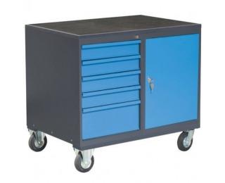Dielenský vozík na kolieskach so zámkom PLW01G/P6P1 - grafit / modrá