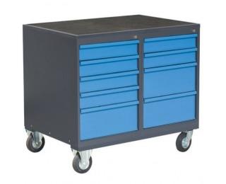 Dielenský vozík na kolieskach so zámkom PLW01G/P6P7 - grafit / modrá