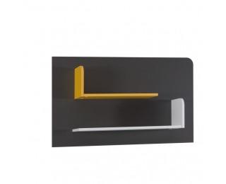 Polica Matel B6 - sivý grafit / biela / žltá