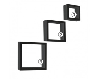 Poličky (3 ks) Kvadro New - čierna