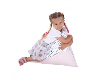Sedací vak Pompom - biela / ružová / sivá