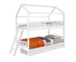 Poschodová posteľ s roštami Evalia 90x200 cm - biela