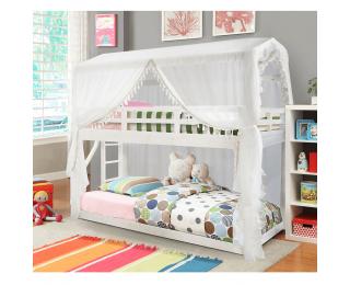Poschodová posteľ s roštom Zefire 90x200 cm - biela