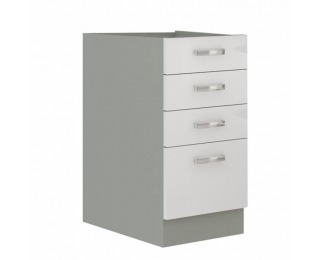 Dolná kuchynská skrinka Prado 40 D 4S BB - biely vysoký lesk / sivá
