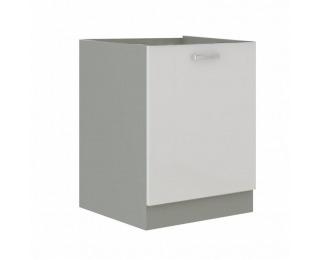 Dolná kuchynská skrinka Prado 60 D 1F BB - biely vysoký lesk / sivá