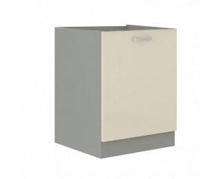 Dolná kuchynská skrinka Prado 60 D 1F BB - krémový vysoký lesk / sivá