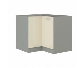 Dolná rohová kuchynská skrinka Prado 90/90 DN BB - krémový vysoký lesk / sivá