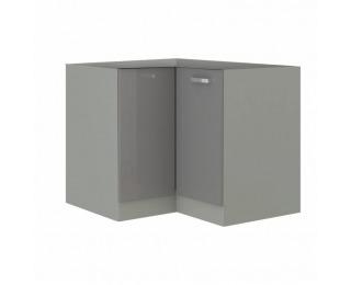 Dolná rohová kuchynská skrinka Prado 90/90 DN BB - sivý vysoký lesk / sivá