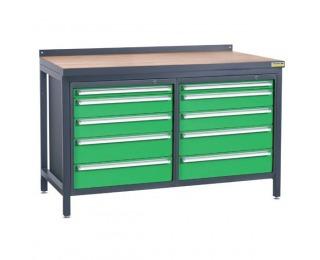 Pracovný stôl PSS02D/L4L4 - grafit / zelená