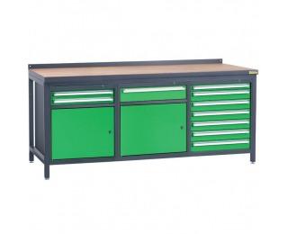 Pracovný stôl PSS03D/L2L3L8 - grafit / zelená