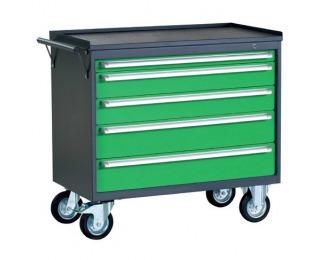 Dielenský vozík na kollieskach so zámkom PWW01G/2L4 - grafit / zelená