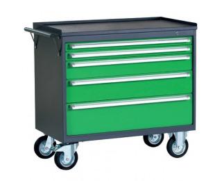 Dielenský vozík na kollieskach so zámkom PWW01G/2L5 - grafit / zelená