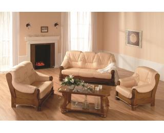 Kožená sedacia súprava Adam - drevo D3 / krémová (Madras G100)