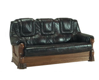 Kožená trojsedačka Aneta II - drevo D3 / tmavohnedá (Antyk S50)