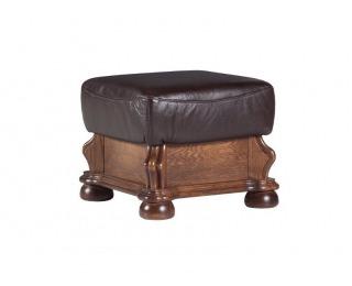 Kožená taburetka Cezar - drevo D3 / tmavohnedá (Antyk S50)