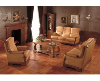 Kožená sedacia súprava Gustaw - drevo D5 / béžová (Antyk S38)