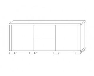 Komoda Kacper 2S 2DPE 140 - wenge / biely vysoký lesk