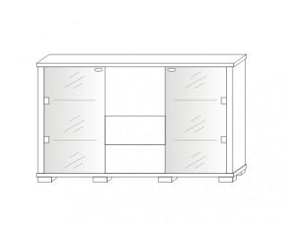 Barová skrinka Kacper 2S 2DSZ 140 - wenge / biely vysoký lesk