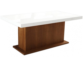 Rozkladací jedálenský stôl Kacper 160/240 - drevo D3 / biely vysoký lesk
