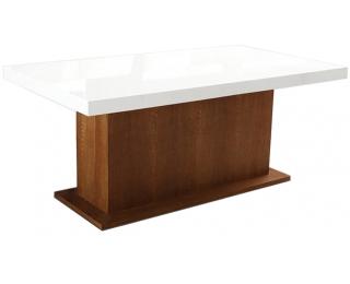 Rozkladací jedálenský stôl Kacper 300/500 - drevo D3 / biely vysoký lesk