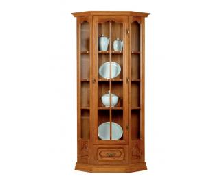 Rustikálna rohová vitrína Kinga - drevo D3