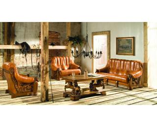 Kožená sedacia súprava Oskar - drevo D3 / béžová (Antyk S38)