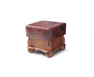 Kožená taburetka Parys - drevo D3 / svetlohnedá (Antyk S40)