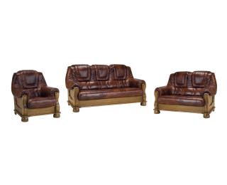Kožená sedacia súprava Roma 3N+2+1 - drevo D3 / koža S42