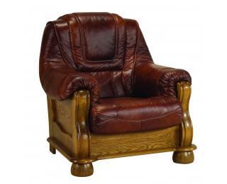 Kožené kreslo Roma - drevo D3 / koža S42
