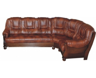 Kožená rohová sedačka Roma P - drevo D3 / koža S42
