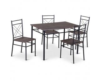 Jedálenský set Ramet 1+4 - čierna / vzor drevo
