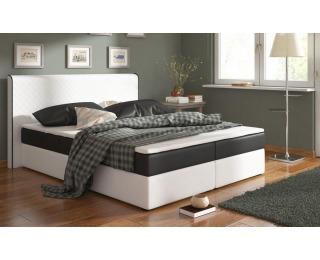 Čalúnená manželská posteľ s matracmi Bergamo 180 - biela / čierna (comfort)