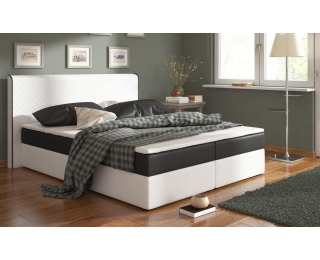 Čalúnená manželská posteľ s matracmi Bergamo 180 - biela / čierna (megacomfort visco)