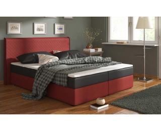 Čalúnená manželská posteľ s matracmi Bergamo 160 - čierna / červená (comfort)