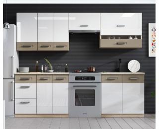 Kuchyňa Kamala 240 - dub samoa / cappuccino / biely lesk