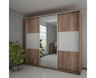 Šatníková skriňa s posuvnými dverami Rico L240D 3D - craft tobaco / craft biely