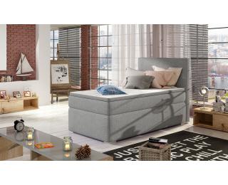 Čalúnená jednolôžková posteľ s úložným priestorom Rodrigo 90 L - svetlosivá
