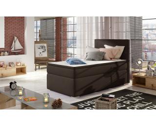 Čalúnená jednolôžková posteľ s úložným priestorom Rodrigo 90 L - tmavohnedá