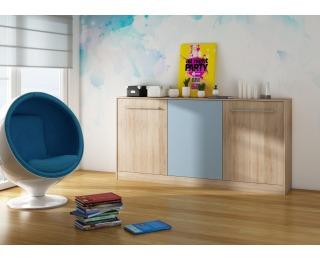 Výklopná posteľ s roštom Roger 90 - sonoma svetlá / belasá / modrá