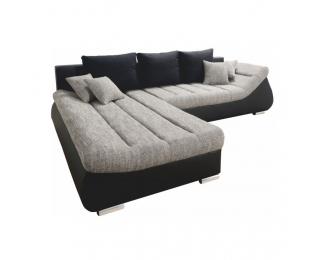 Rohová sedačka s rozkladom a úložným priestorom Elimer L - čierna / sivá