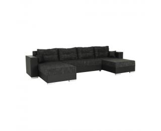 Rohová sedačka s rozkladom a úložným priestorom Essen L/P - čierna / čierny melír
