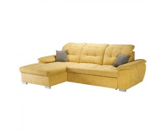 Rohová sedačka s rozkladom a úložným priestorom Evangelin L - horčicová