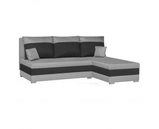 Rohová sedačka s rozkladom a úložným priestorom Gabo L/P - svetlosivá / čierna