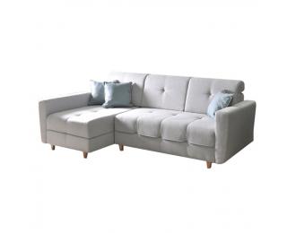 Rohová sedačka s rozkladom a úložným priestorom Hakan L - svetlosivá / mentolová