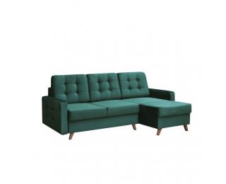 Rohová sedačka s rozkladom a úložným priestorom Medlin L/P - smaragdová / orech